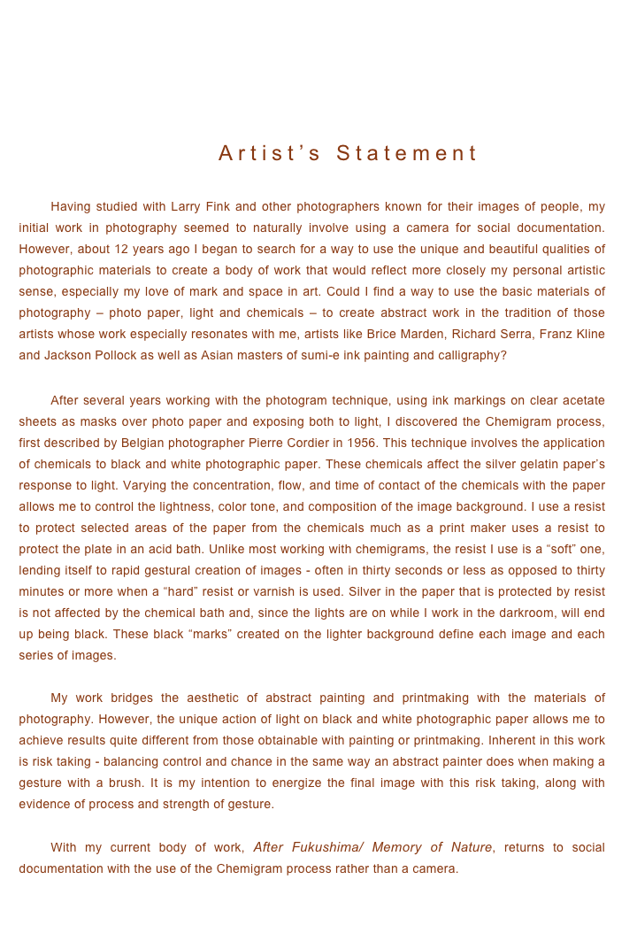 Photo essay artist statement for photography